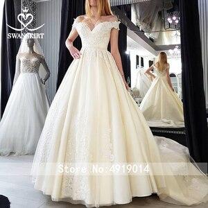 Image 5 - Vintage con cuentas de encaje apliques para vestido de novia sin hombros A Line vestido de novia princesa Court Train Swanskirt F125 vestido de novia