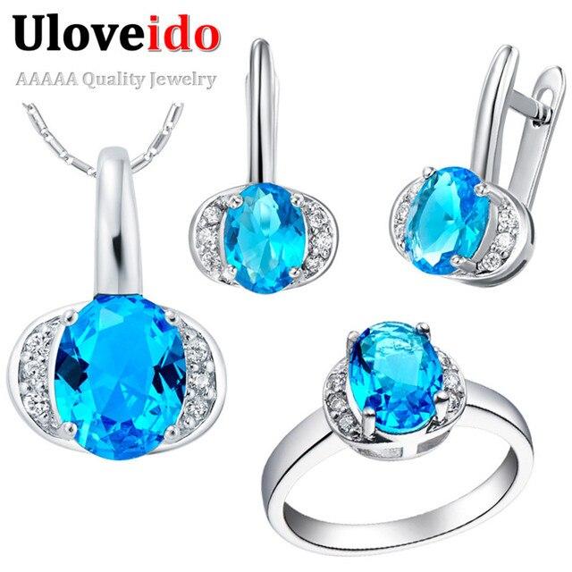 Valentine's Day Wedding Jewelry Sets Silver Cubic Zirconia Women Accessories Austrian Crystal Vingtage Women's Jewelry T228