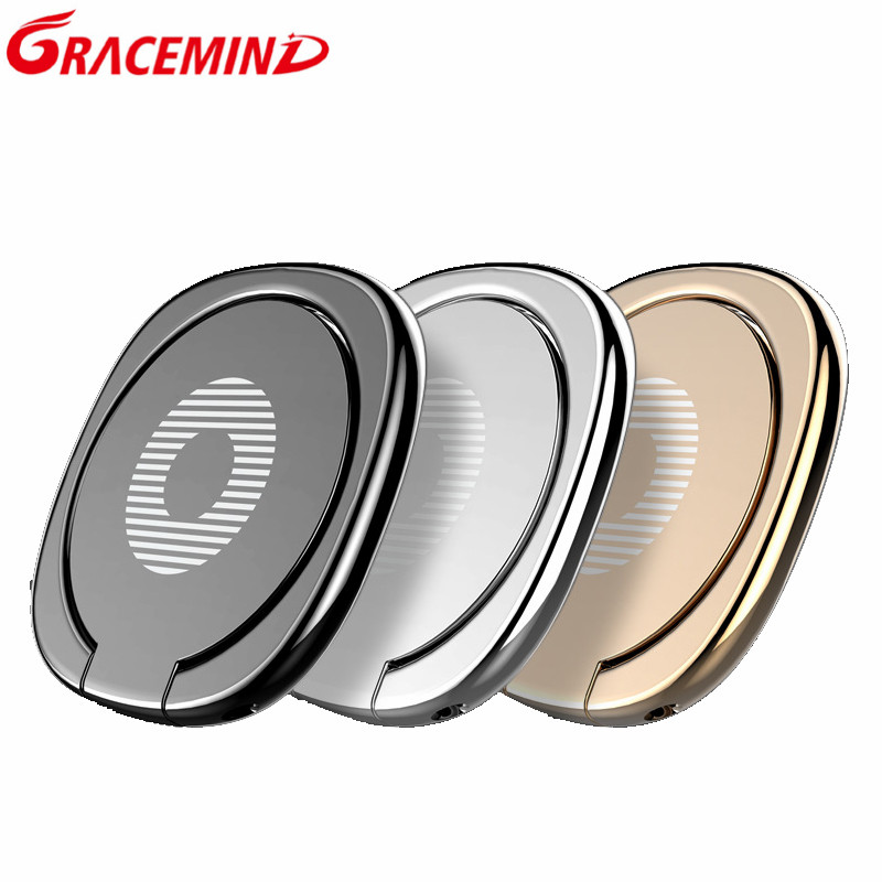 Gracemind  Luxury 360 Degree Metal Finger Ring Holder For IPhone X 8 7 Samsung S9 S8 Mobile Phone Finger Holder Tablets Holder
