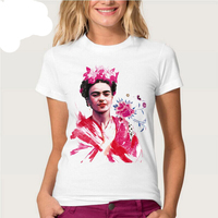 NEWEST 2017 Summer Fashion Skull Portrait Women T-Shirts Frida Kahlo Printed T Shirts Casual Slim Top Feminine Short Sleeve Tee