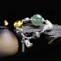 Amber Bracelet Lady Green Amber 925 Sliver Hand Crafted Jewelry Antique Lovely Beads Adult Wedding Jewelry Natural Jewelry