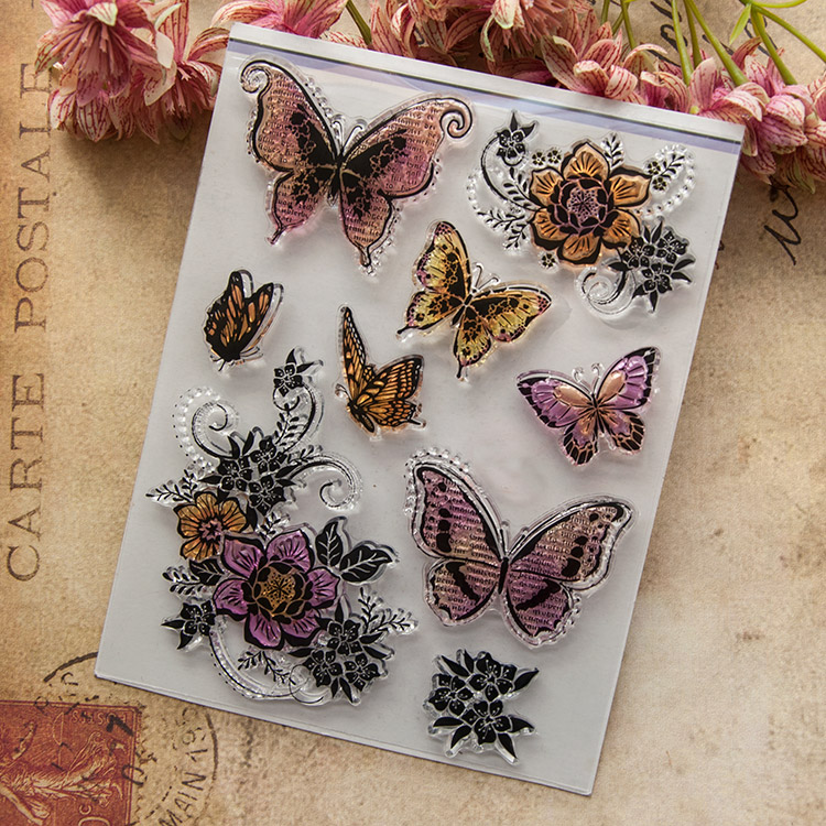 Butterfly Transparent Clear Silicone Stamp/Seal for DIY scrapbooking/photo album Decorative clear stamp Q13 flowers and lace design transparent clear silicone stamp seal for diy scrapbooking photo album wedding gift cl 083