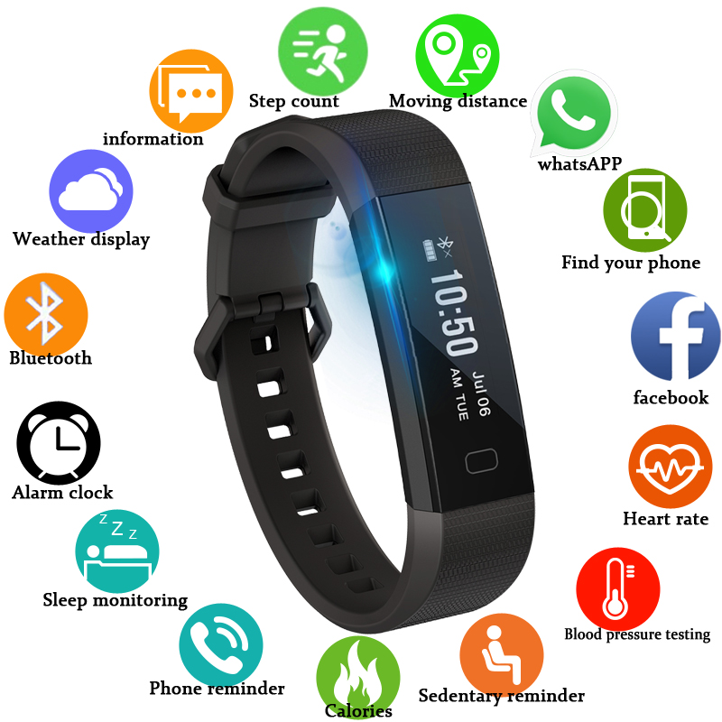 Digital Watches Logical Bangwei Men Women Fitness Smart Bracelet Watch Pedometer Blood Pressure Heart Rate Monitor Sleep Tracker Ip67 Smart Wristband Watches