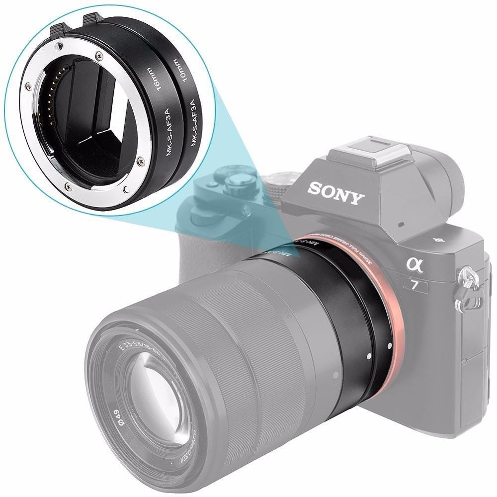 Meike 10mm 16mm Metal Extension Tube Adapter Ring Lens Auto Focus for Sony NEX E Mount a9 a7m3 a7r3 a7m2 a7r2 a7 a6500 a6400 nex