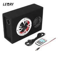 LEORY Ultra Thin 4 Inch Subwoofer Speaker Wired Amplifier Powered Speaker Remote Control 60W TF USB