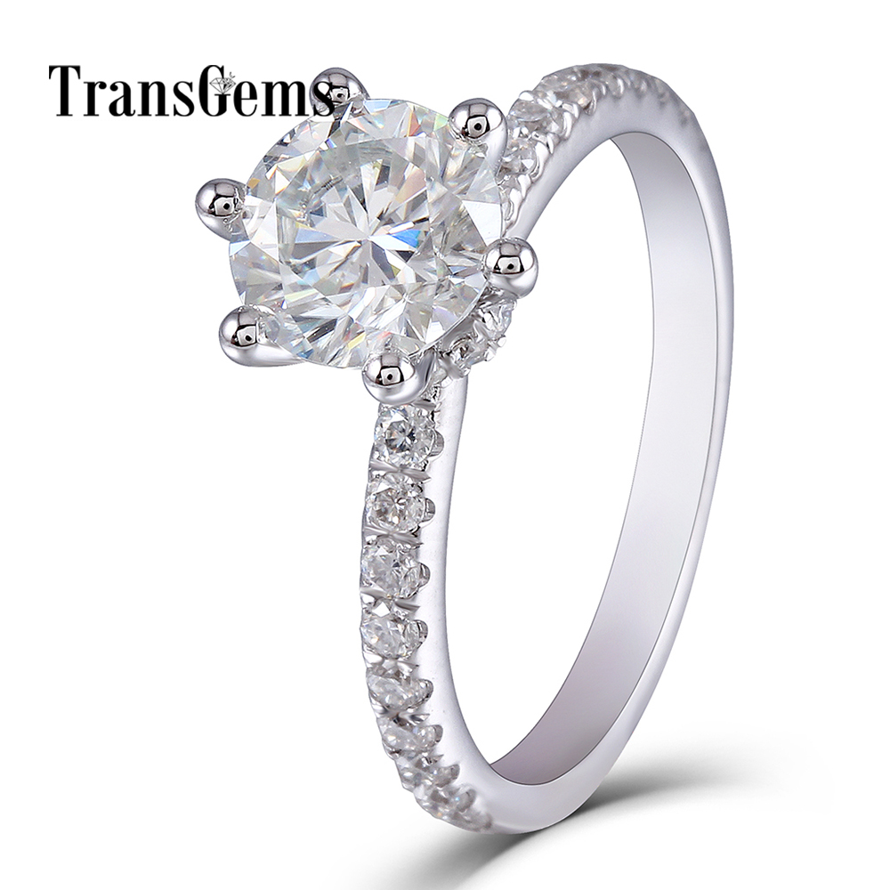 1.5 Carat Solitare Engagement Ring 14K 585 White Gold 7.5mm F Color Moissanite Center Stone 2mm Band Width with Accents Transgem цены онлайн