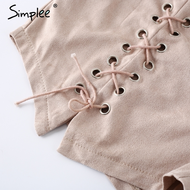 Sipmlee Causal lace up bodycon leather suede shorts Women sexy slim split high waist shorts Autumn winter party shorts buttoms