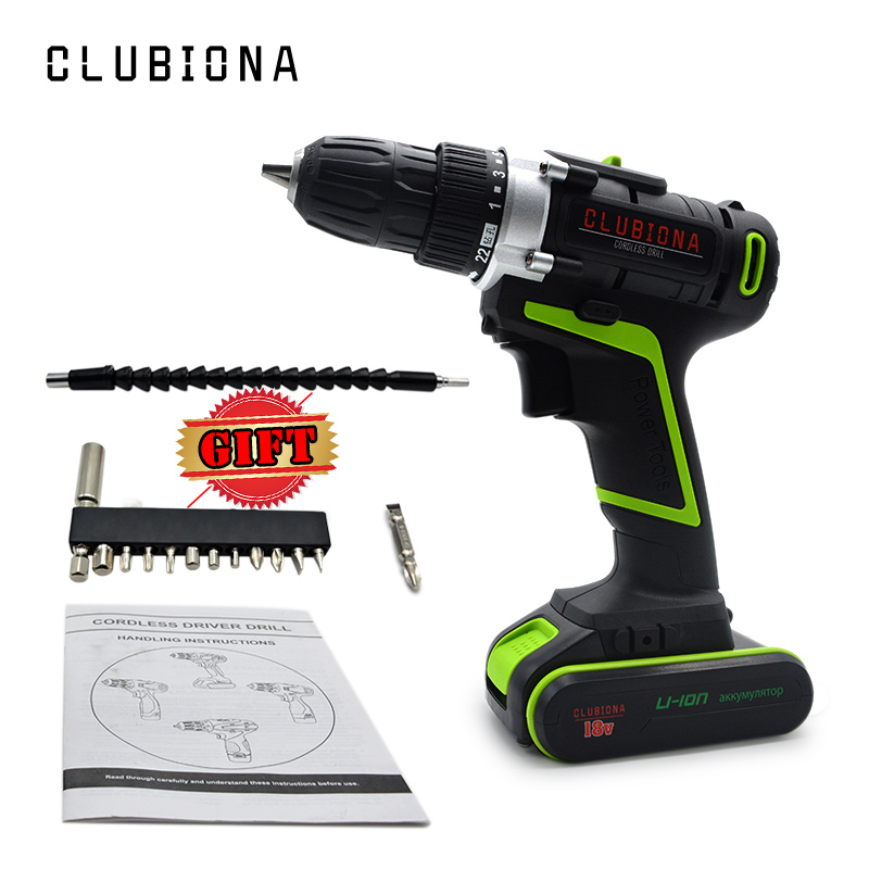 Clubiona rate voltage 18V high performance and powerful 2 speed cordless handheld electric drill screwdriver with carton packing