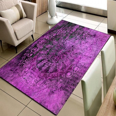 Else Purple Turkish Ottoman Vintage Design 3d Print Non Slip Microfiber Living Room Decorative Modern Washable Area Rug Mat