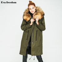 Eva freedom2018 brand original single item lamb wool parka coat hooded long section removable raccoon fur collar down jacket