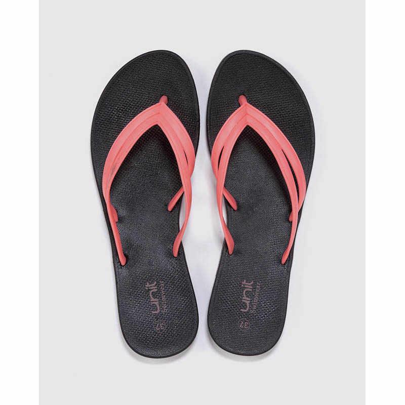 UNIT Mujer Chanclas en Color Negro con Doble Tira en Rosa Flip Flops Verano Playa Piscina Baño Zapatillas de Casa Básico