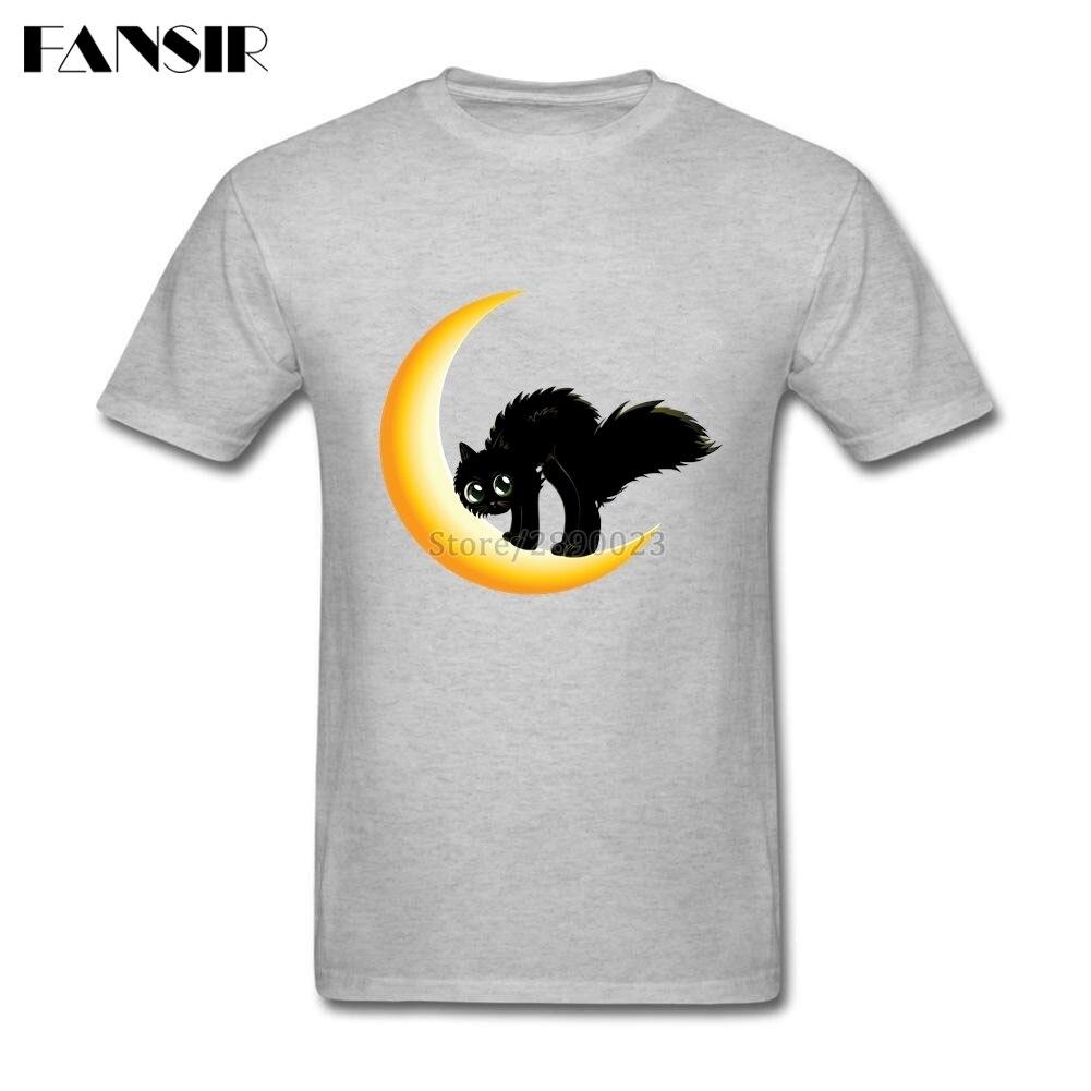 Plain black t shirt quality - Plain T Shirt Mens Black Cat On Moon Men T Shirt Short Sleeve Cotton
