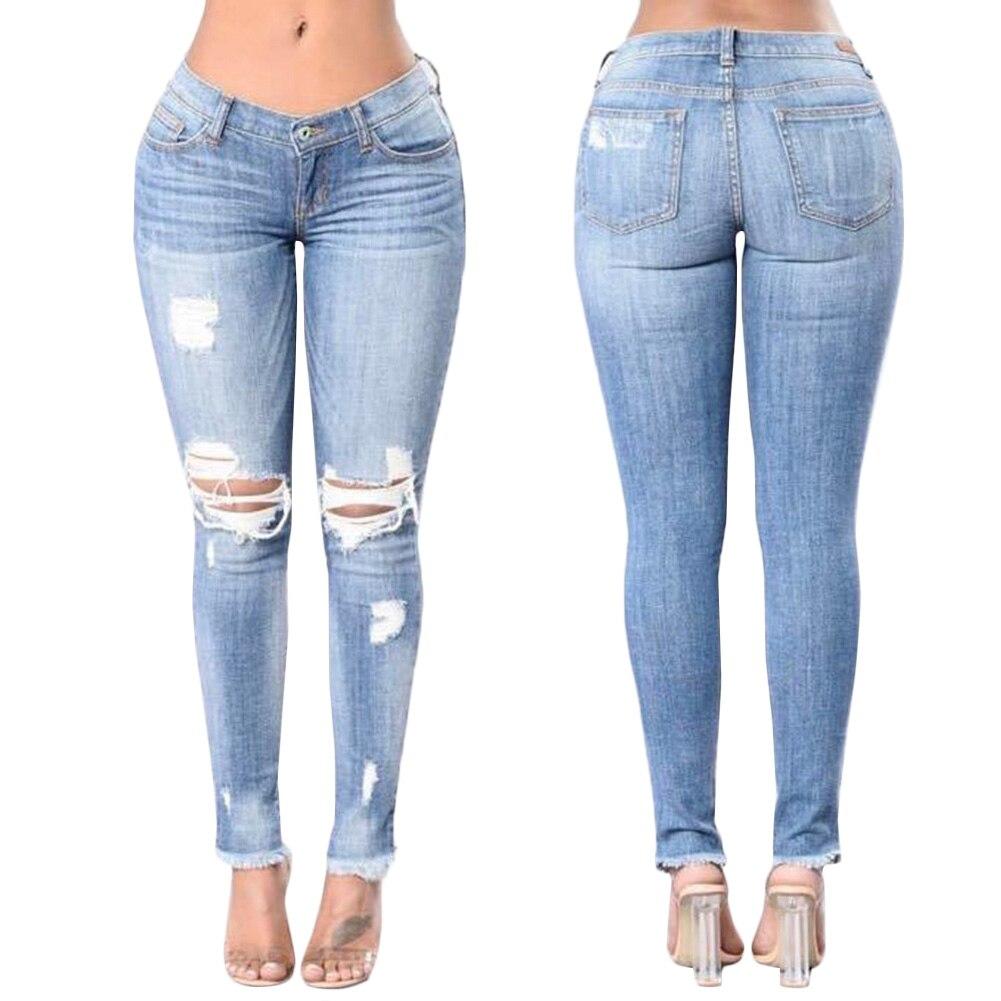 2018 Plus Size Ripped Fading Hole Jeans Women`s True Denim Skinny Distressed Jeans For Women Jean Pencil Pants