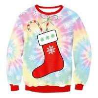 Netter Weihnachtsstrumpf Muster Crewneck Swertshirts für Frauen Kawaii 3D Druck Tie Dye Wirkung Hässliche Weihnachten Sweatshirt S-XL