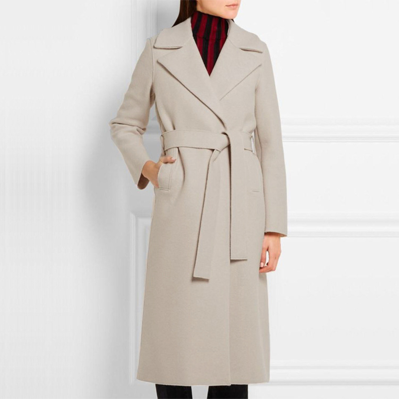 2018 Fall Winter Women Simple Classic Beige Woolen Long Coat With Belt Female Robe Outerwear Manteau Femme Abrigos Mujer C77