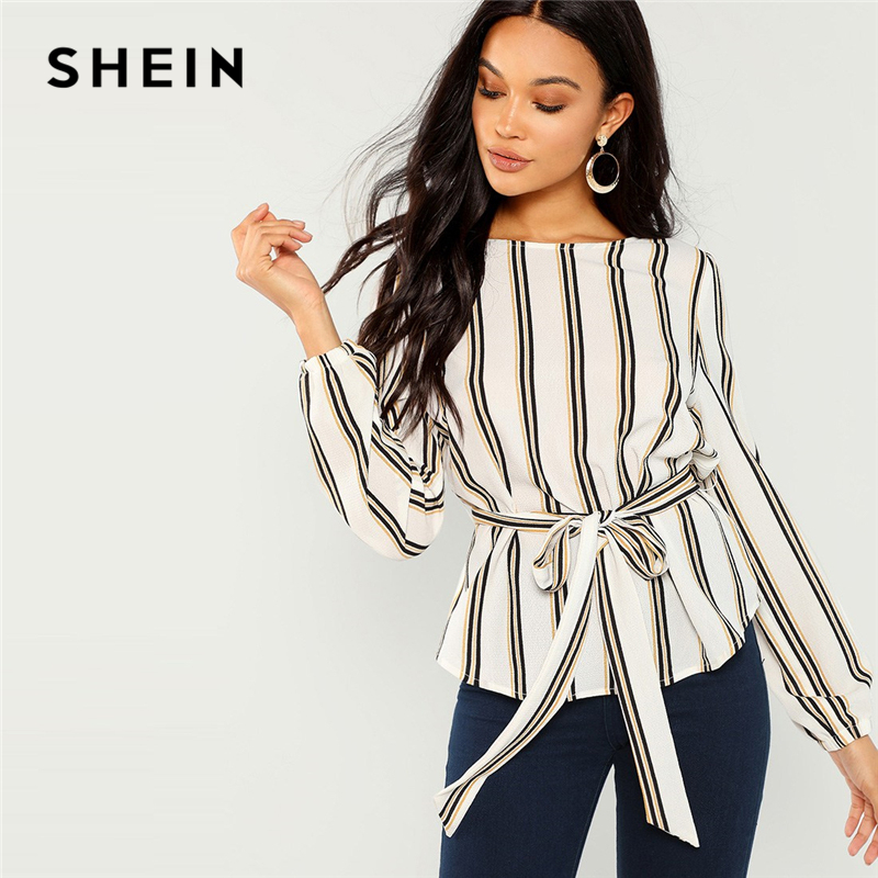 SHEIN blanco Oficina dama elegante estampado a rayas con cuello redondo de manga larga blusa 2018 nuevo otoño ropa de mujer Tops y blusas