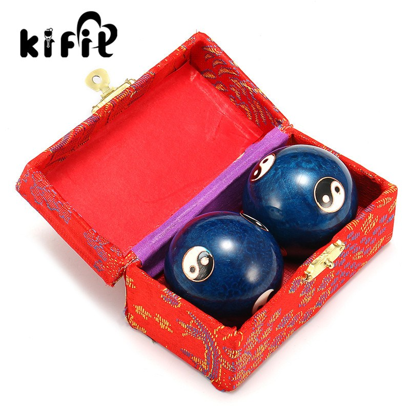 KIFIT Newest Chinese Health Daily Exercise Stress Relief Handball Baoding Balls Relaxation Therapy Ying Yang Blue Massage Tool 2pcs lot natural massage jade stone hand ball rolling exercise meditation stress relief fitness health healing reiki balls