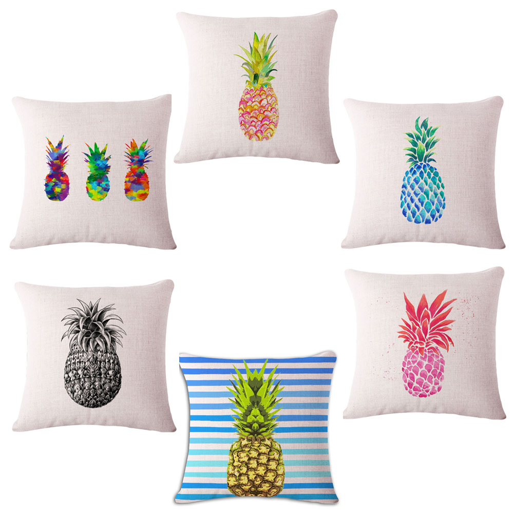 1pc! Customized Cushion Covers Pineapple Flower Birds Custom Pillows Cover 6 Styles Geometry Baby Sofa Decoration Gift