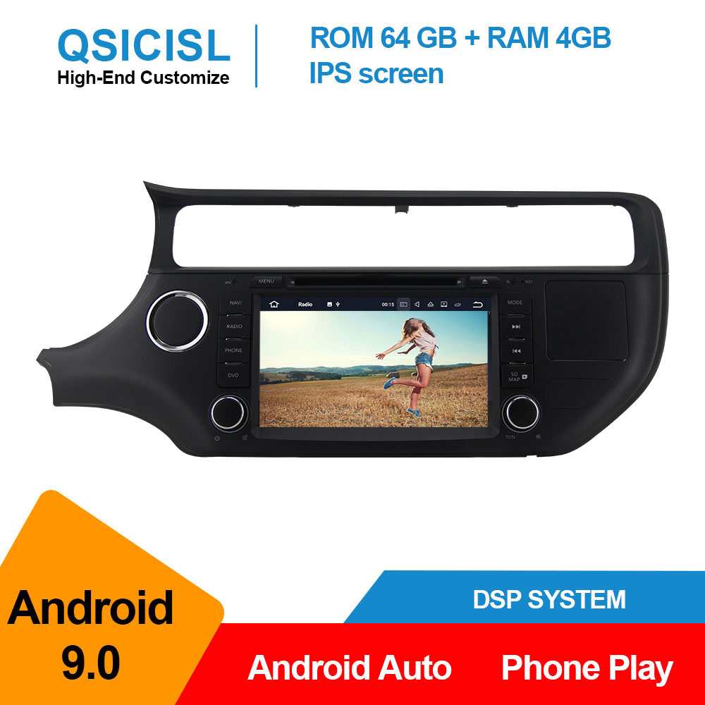 4GB+64GB Android 9.0 car radio multimedia player for Kia RIO 2015 car head unit 1 din IPS 9 vehicle gps navigation stereo dsp image