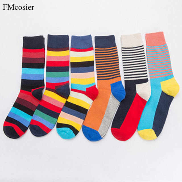 6 Pairs/lot Autumn Winter Comb Cotton Mens Bright Colorful Socks Male Man Long Crew Warm Funny Striped Socks Meias Weeding Gift