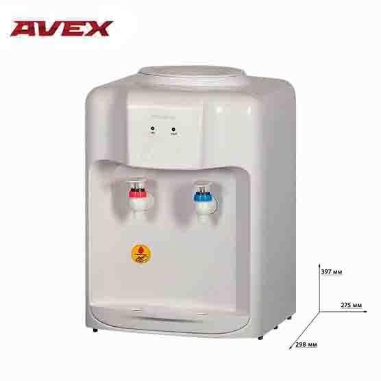Кулер для воды с электронным охлаждением  AVEX D-10W, настольный, режим холодной и горячей воды, бак из нержавеющей стали