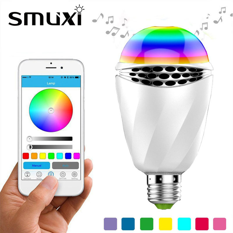 Smxui 12W E27 Smart LED RGB Light Bulb Bluetooth 4.0 APP Control Music Audio Speaker Color Changing Lamp Lighting AC100-240V smart light bulb e27 led rgb light wireless music bluetooth led lamp color changing bulb app control android ios smartphone