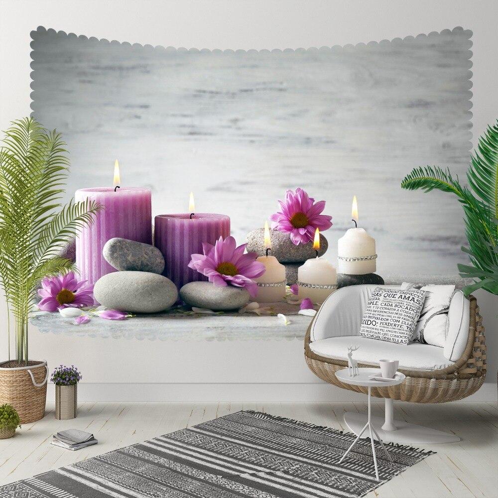 Autre sol gris Spa pierres violet bougies fleurs impression 3D décoratif Hippi bohème tenture murale paysage tapisserie mur Art