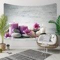 Sonst Grau Boden Spa Steine Lila Kerzen Blumen 3D Druck Dekorative Hippi Böhmischen Wand Hängen Landschaft Wandteppich Kunst-in Dekorative Wandteppiche aus Heim und Garten bei