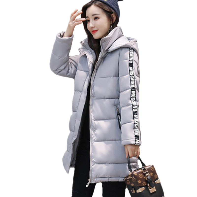Winter Long Jacket Women Fashion Coat Padded Solid Hooded Down Jacket Outwear High Quality Warm