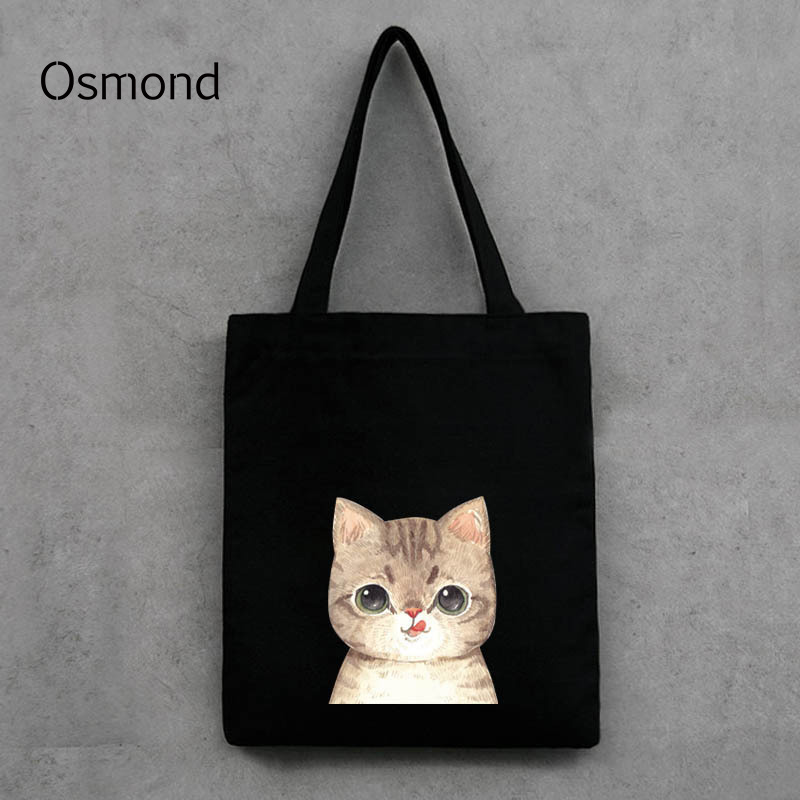 Canvas Handbag Lovely Cat Printing Shoulder Bags Black White Shopping Bags Daily Use Casual Totes Cute Cartoon Bag