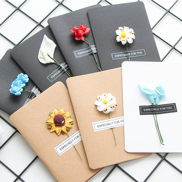 Diy Retro Paper Handmade Universal Dried Flower Birthday Card
