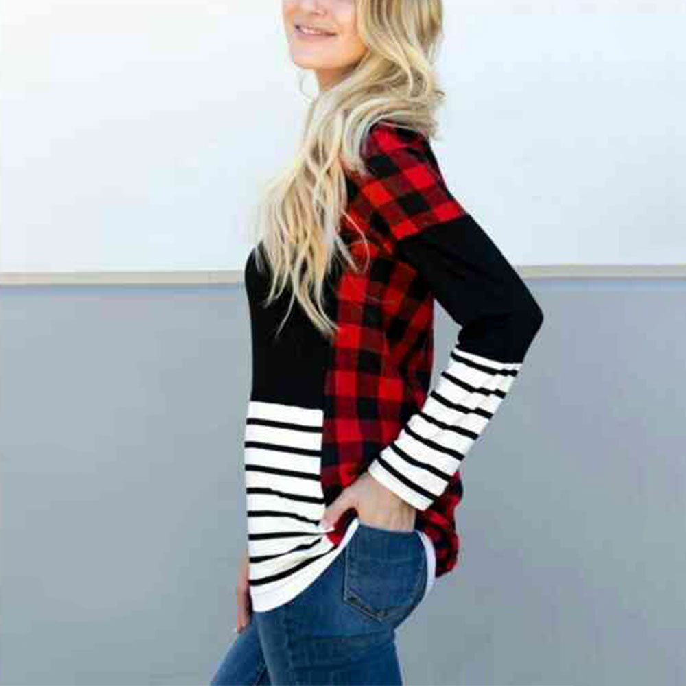 Autumn Winter Fashion Women Blouse and Tops Plaid Splicing Striped Long Sleeve Ladies Tops Blouse Casual Loose Female Tops 2