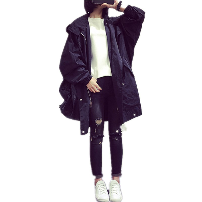 Women Fashion Ladies Oversized Boyfriend Pockets Hooded Coat Outwear Casual Vintage Autumn Winter Trench Coat stylish hooded drawstring boyfriend trends pockets women s jean coat