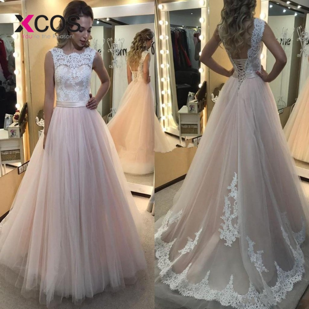 Red And White Lace Wedding Dress: XCOS Light Pink A Line Lace Beach Wedding Dress 2019 Scoop