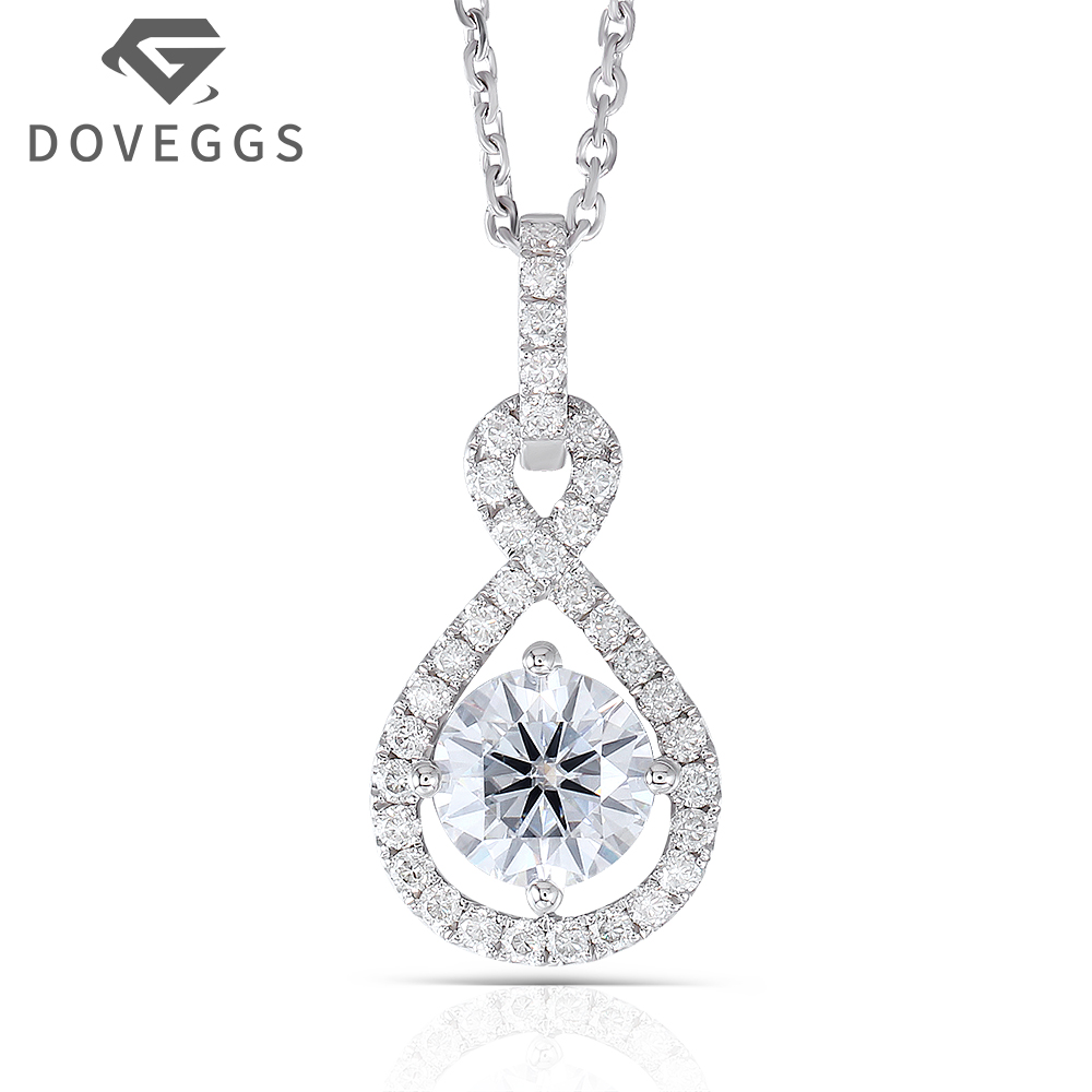 14K White Gold 585 6.5MM 1 Carat F Color Round Brilliant Moissanite Halo Pendant Necklace for Women Free Shipping