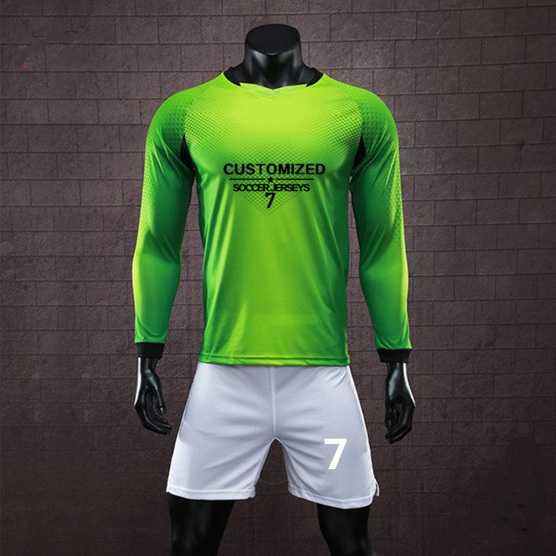 f2456f81a Men Soccer Jerseys Sets Sports Kit College Uniforms Long Sleeve Football  Jerseys Shirts Training Suit Breathable Custom Print