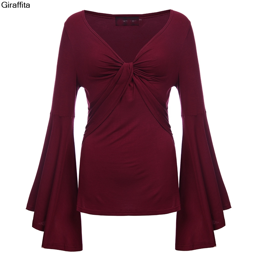 Summer Autumn Women's Fashion Crossover V Deep V Neck T-shirts Female High Quality Bat Bone Front Sleeve Fit T-Shirt Draped Top