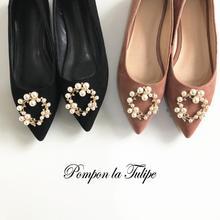 BHS 901151 Chic Kid Suede Pearl Golden Garland Flats Elegant Genuine Leather Sandals Sheepskin Fashion Women Shoes Party Wedding