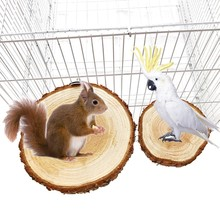 Bird Cage Accessories Pet Round Wooden Coin Jumping Platform Chew Toy For Parrot Budgie Cockatiel Squirrel Hamster Totoro
