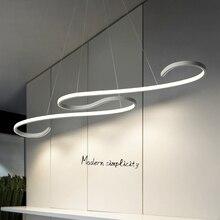 Современные светодиодные люстры S образной формы с черной или белой отделкой, для столовой, кухни, подвесные светильники, 110 В, 220 В