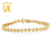 GemStoneKing 925 Sterling Silver Yellow Gold Plated Heart Shape Women S Diamond Bracelet Fits Up 7