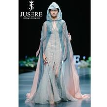 JUSERE 2019 SS אופנה להראות סקסי לראות דרך ארוך שמלת ערב עם כחול קייפ פורמליות שמלות Robe דה Soiree Vestido דה festa