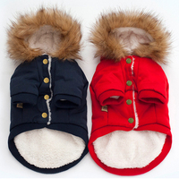 Thicken Faux Fur Collar Hooded Pet Dog Coat Puppy Horn Toggle Buttons Outwear