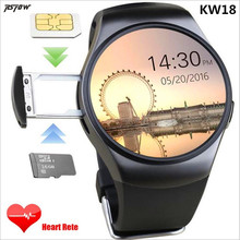 RsFow KW18 Smart Watch SIM TF MTK2502 Heart Rate Monitor Smartwatch Touch Screen bluetooth Wristwatch for apple android IOS
