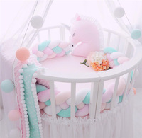 4 Rows 200cm Length Baby Bed Bumper Pure Color Weaving Plush Baby Crib Protector For Newborns Baby Room Decoration