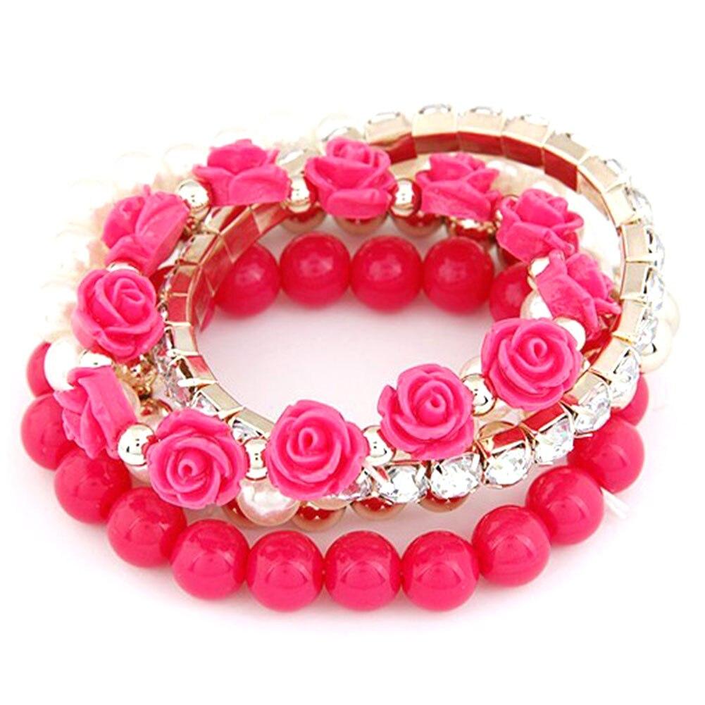 5 Pcs/Set Bracelet Candy Color imitation pearl Rose Flower Multilayer Beads Stretch Charm Bracelet & Bangle For Women