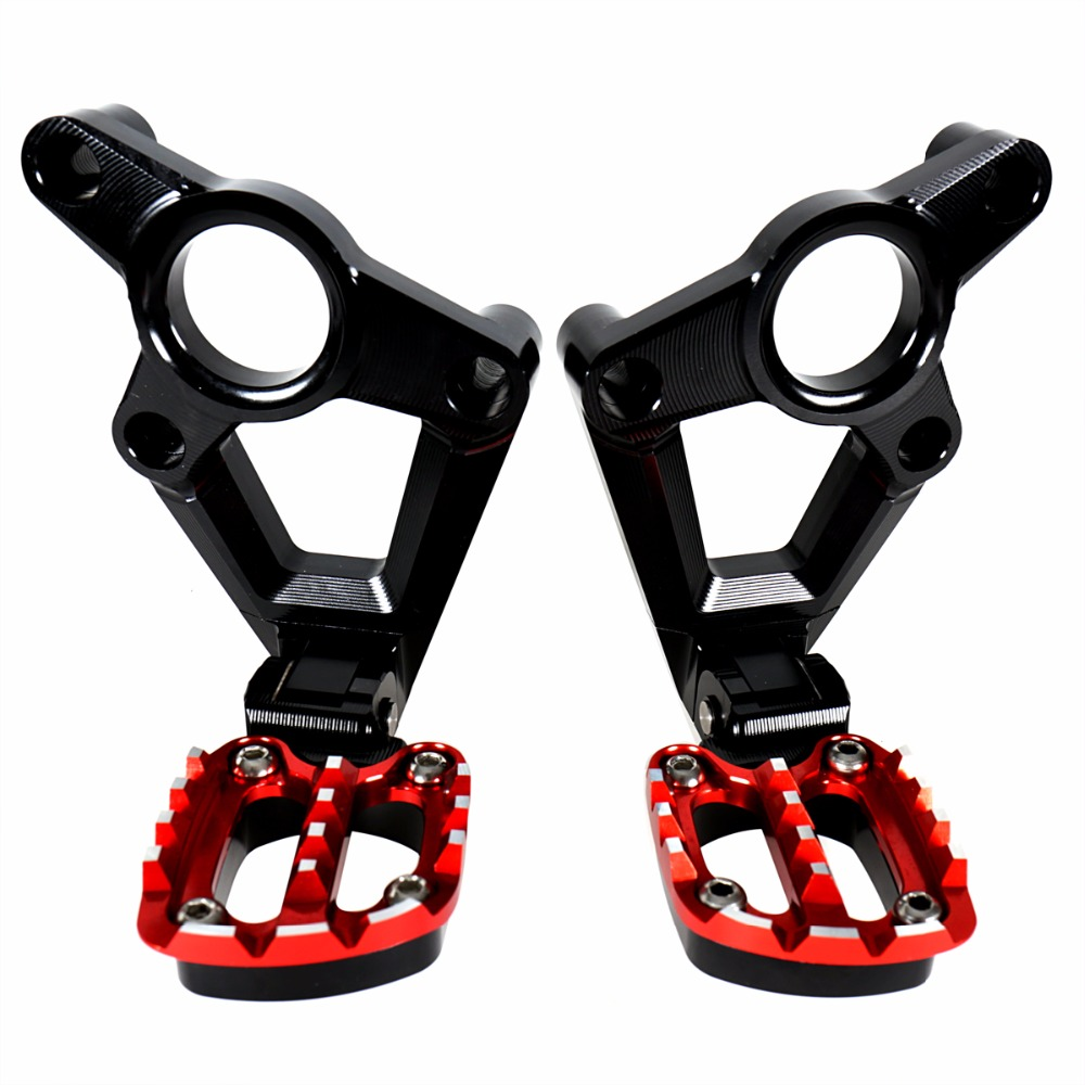 Billet Aluminum Folding Rear Passenger Bracket With Foot Pegs Black Red For Honda X ADV X