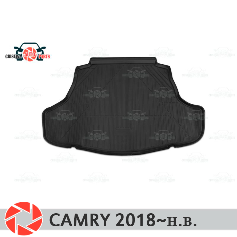 Trunk mat for Toyota Camry 2018~ trunk floor rugs non slip polyurethane dirt protection interior trunk car styling custom fit car floor mats for toyota camry rav4 prius prado highlander verso 3d car styling carpet liner ry56