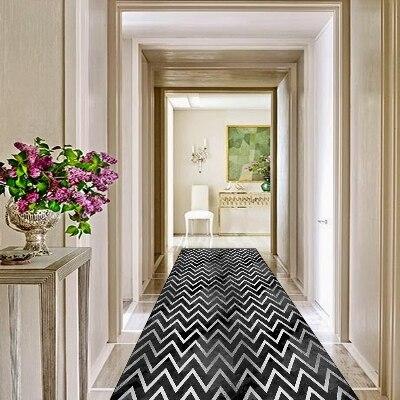 Else Black Gray Waves Scandinav Geometrics 3d Print Non Slip Microfiber Washable Long Runner Mats Floor Mat Rugs Hallway Carpets