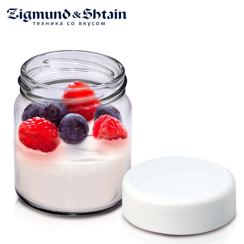 Zigmund & Shtain ZGP-001 Glasses cups for Yogurt maker, 180 ml2 pcs, plastic cover, date of expiry indication